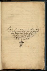 Försättsbladet till Kalmar nations första kassabok anno 1663.